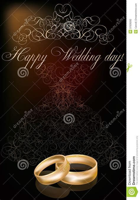 Happy Wedding Day Background With Two Golden Rings Stock