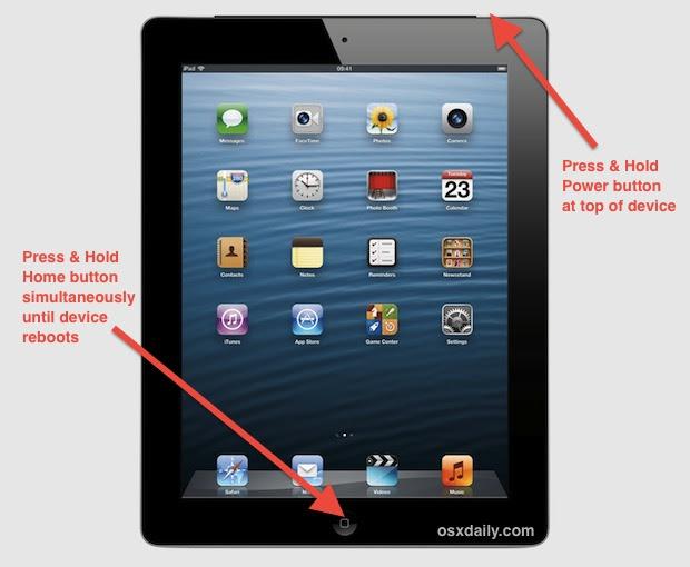 Force reboot an iPad