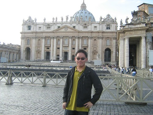 Standing before St. Peter's Basilica at Vatican City 2