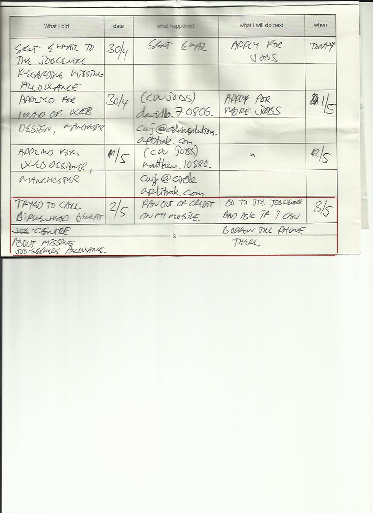 jobseekers diary