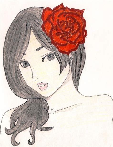 red rose  manga drawing art  drawing  cut