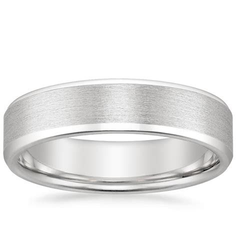 Beveled Edge Matte Wedding Ring in 18K White Gold