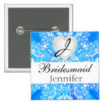 Monogram Bridal Party Blue Satin Design 2 Inch Square Button