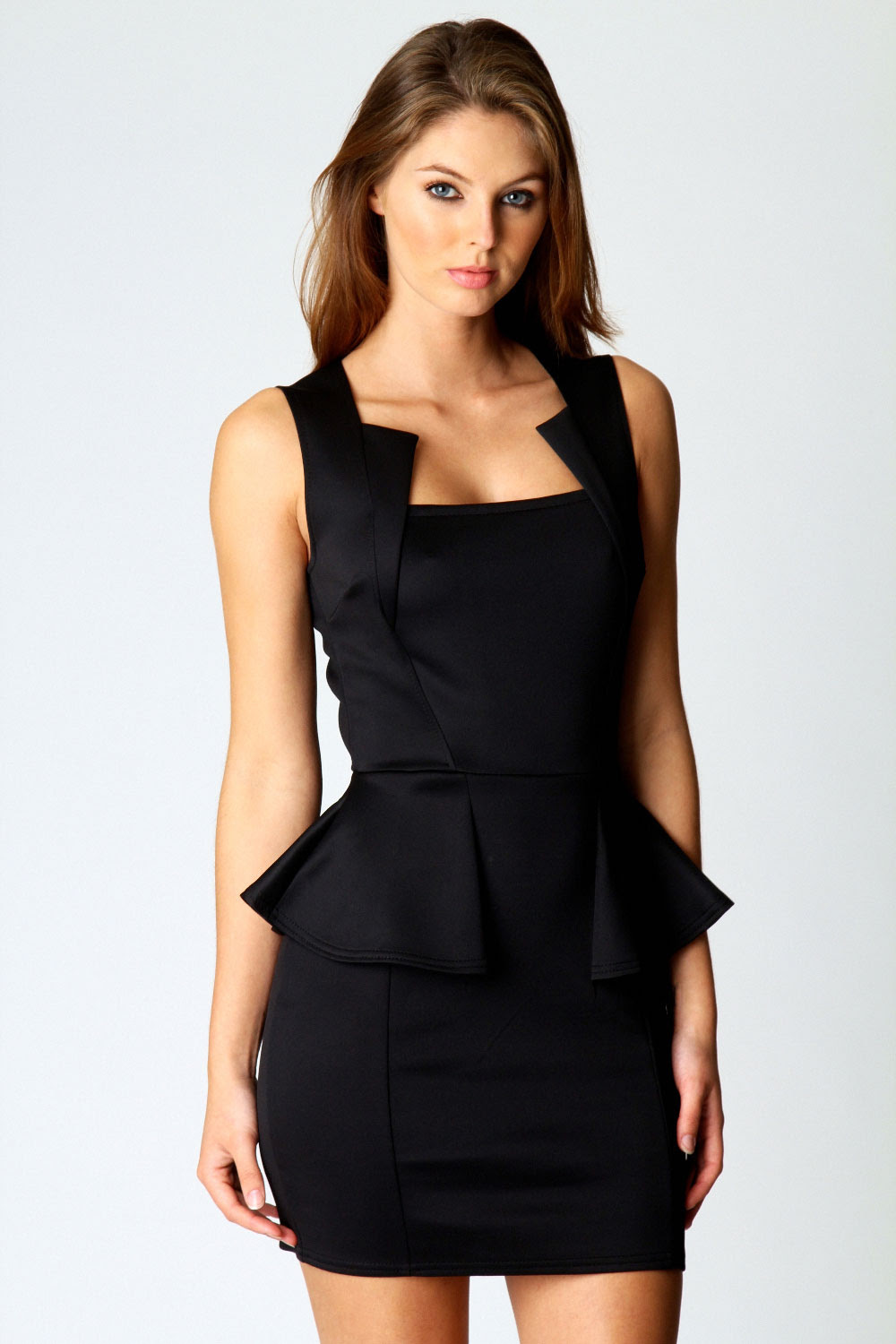 Black bodycon dress square neck up top hand queen