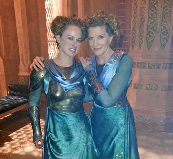 Rene Russo And Her Stunt Double Chloe Bruce On The Set Of Thor: The Dark World