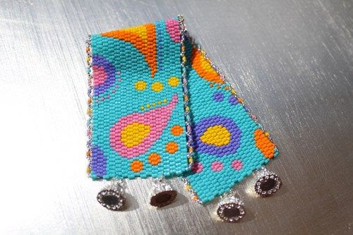 REDUCED Hand Woven Cuff Bracelet in Multicolored Paisley  | IrishExpressions - Jewelry on ArtFire