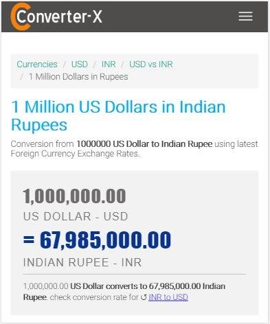 1 Million Dollars In INR - 1 Million USD in Rupee