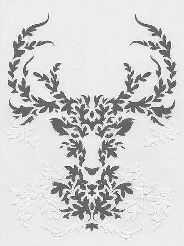 gray-deer-papercutting