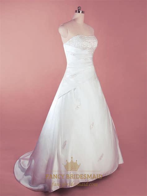 Simple White Satin Wedding Dress, A Line Strapless Wedding