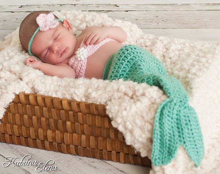 Baby mermaid photo prop by WillowsGarden via Etsy.
