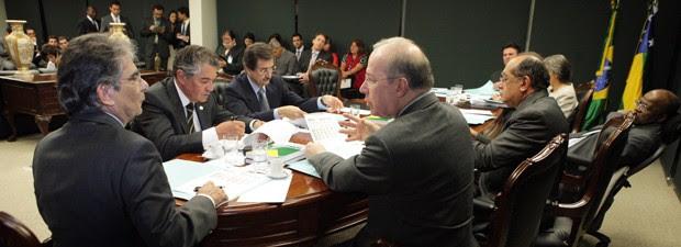Os ministros do STF, durante reunião administrativa nesta quarta (6), para definição do cronograma de julgamento do mensalão (Foto: Carlos Humberto/SCO/STF)