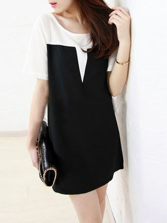 New Fashion Splicing Color Short Sleeve Chiffon Blouses Mini Dress