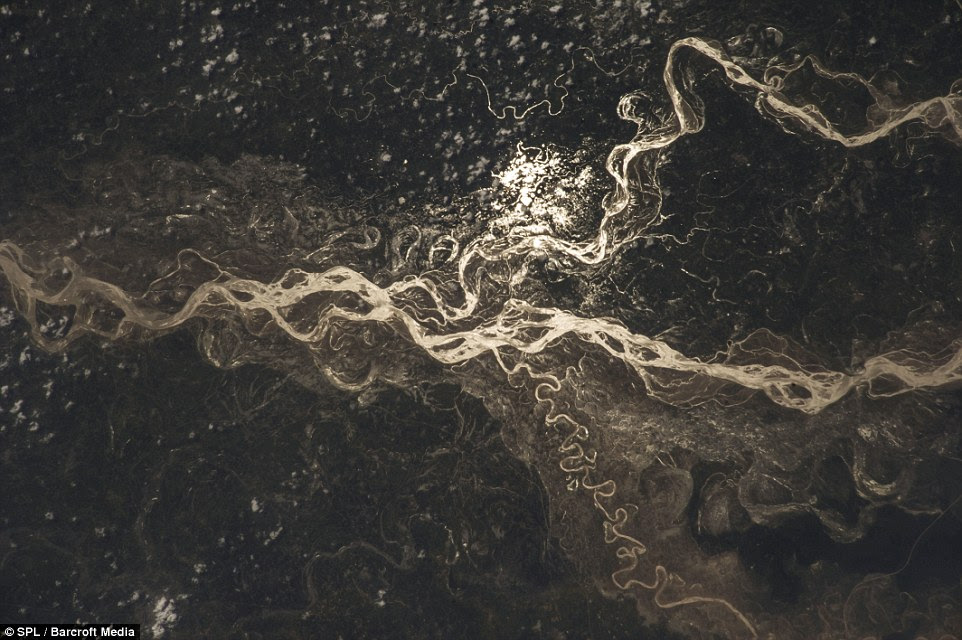Zooming in: The Sharda river in India was captured in this stunning August image taken by astronauts on board the International Space Station