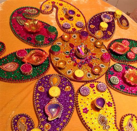 My signature multi coloured mehndi plate set. See my