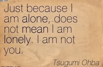 Just Because I Am Alone Does Not Mean I Am Lonely I Am Not You
