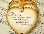 Gift Tags Religious Tags Philippians 4:4 Rejoice in the Lord Always Set of 6