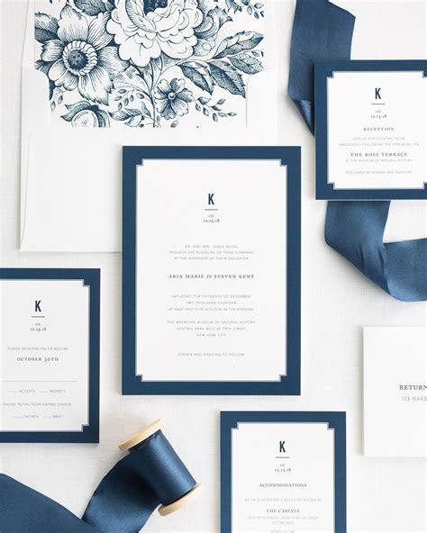 Navy Blue Wedding Invitations   Elegant Border   Ribbon