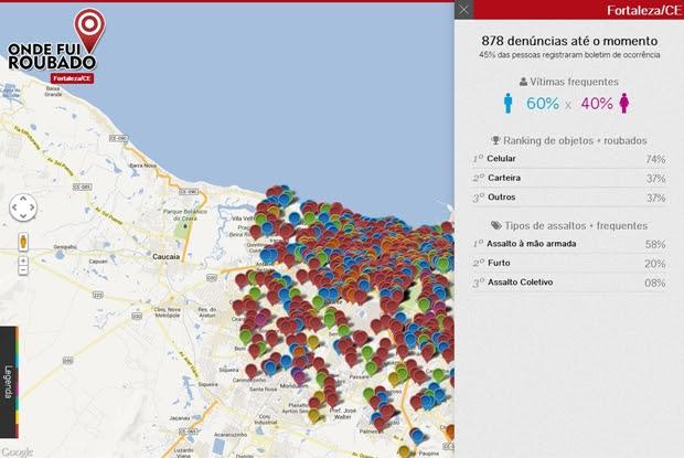 Mapa e estatísticas de Fortaleza, cidade com maior número de ocorrências (Foto: Raquel Freire)