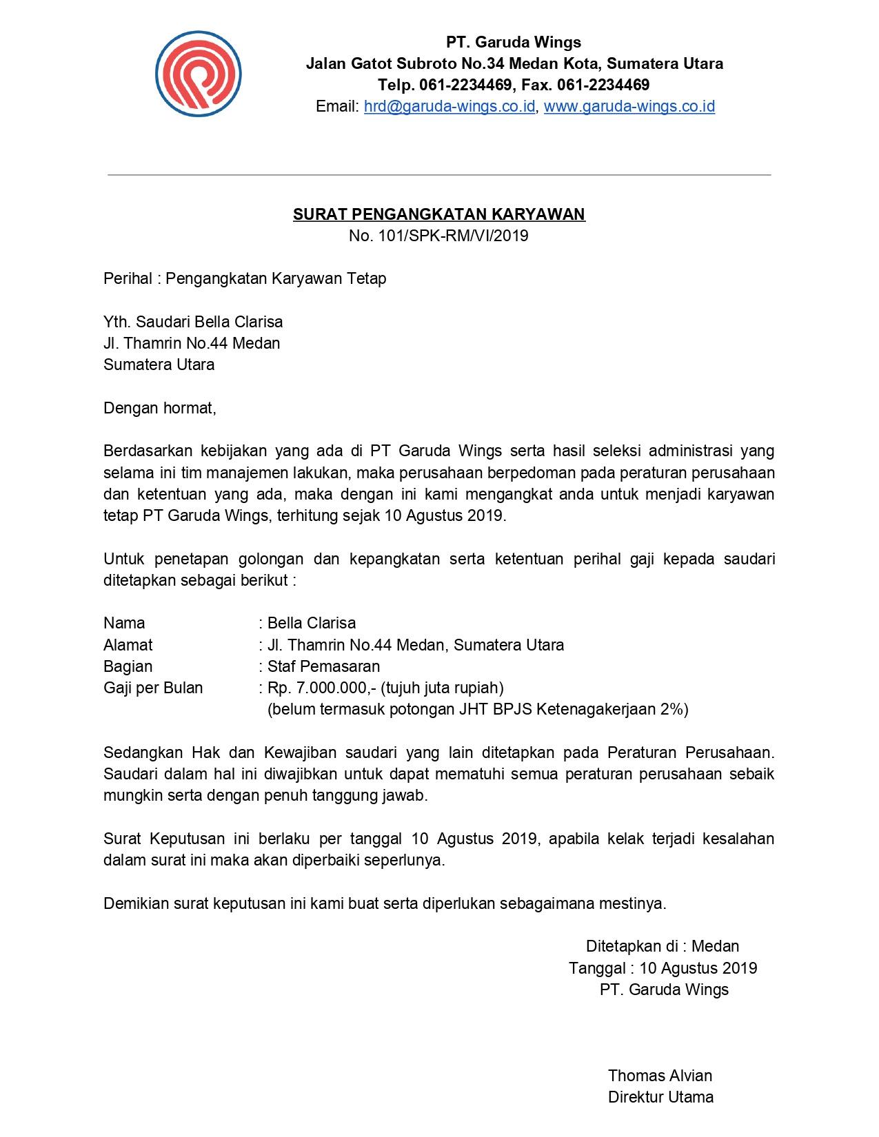Contoh Surat Keterangan Karyawan Untuk Segala Keperluan ...