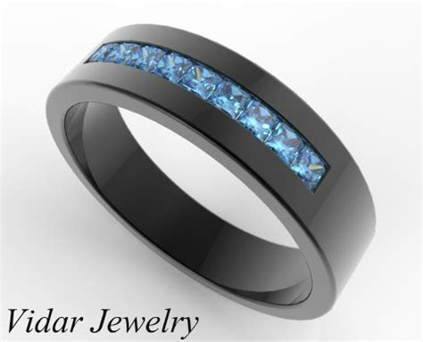 Men's Blue Diamond Wedding Band in Black Gold   Vidar