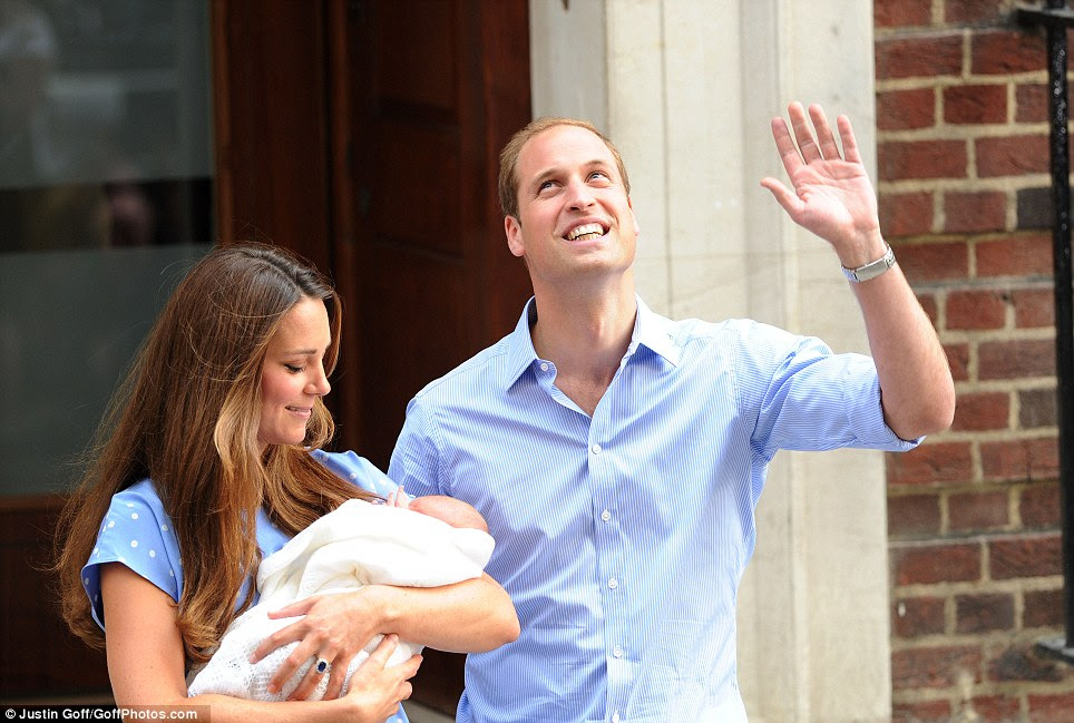 Huge crowds were waiting to catch a glimpse of the couple and the baby outside St Mary's hospital