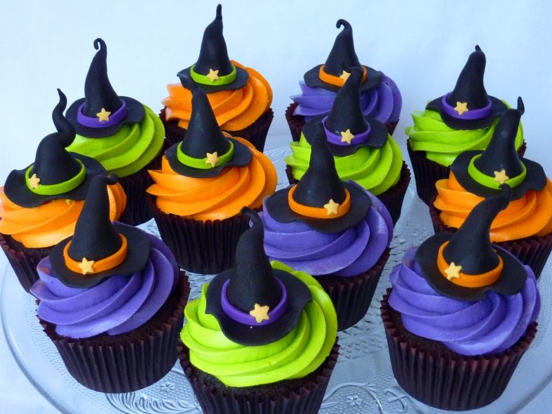 Image result for halloween cupcakes witch hats