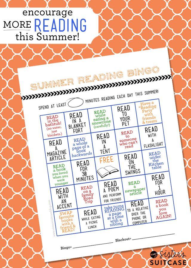 My Sister's Suitcase: Summer Reading #Printable Bingo Card