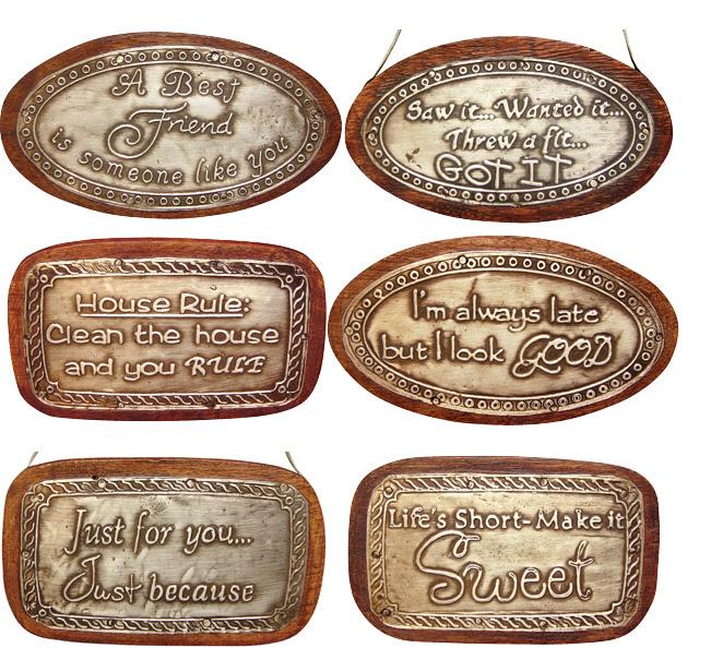 Rustic rustic Set & Details /6 Mini Metal  about Wood Embossed signs metal Signs Sayings