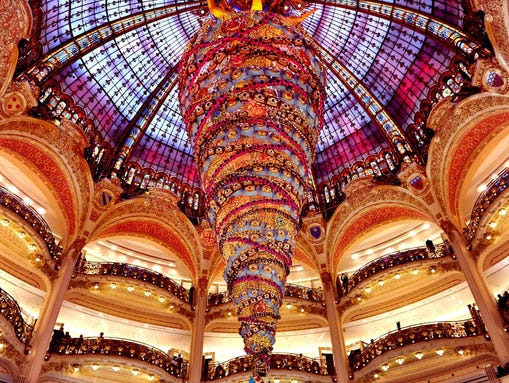 Giant, upside-down Christmas tree in a Paris shopping