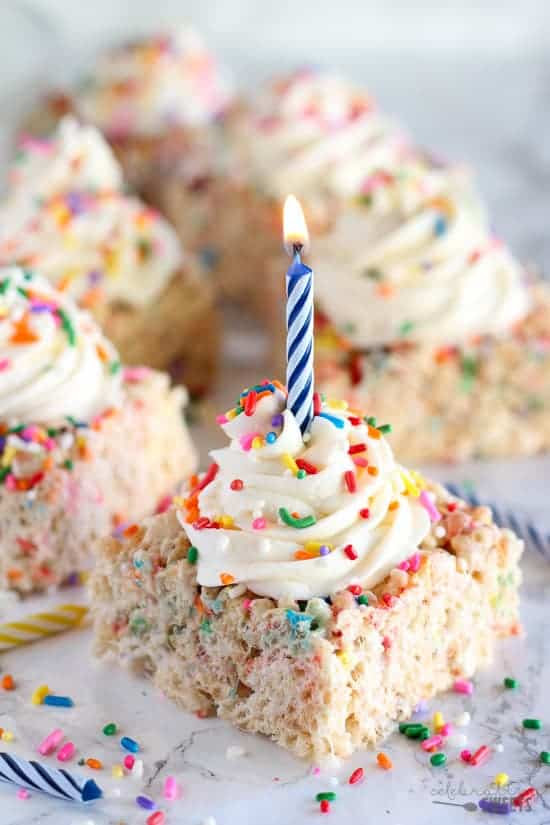 Birthday Sprinkle Rice Krispie Treats | Celebrating Sweets