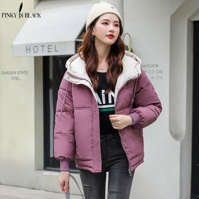 PinkyIsBlack New Short Parka Women 2019 Snow Wear Winter Jacket Women Coats Hooded Ladies Coat Fema
