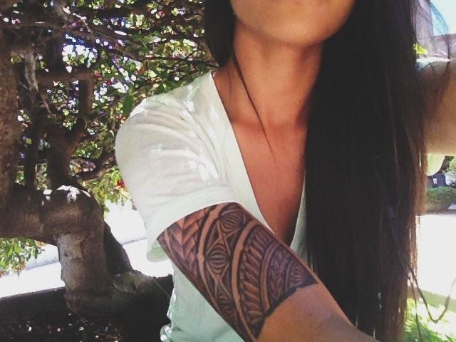 Black Ink Polynesian Half Sleeve Tattoo For Girls