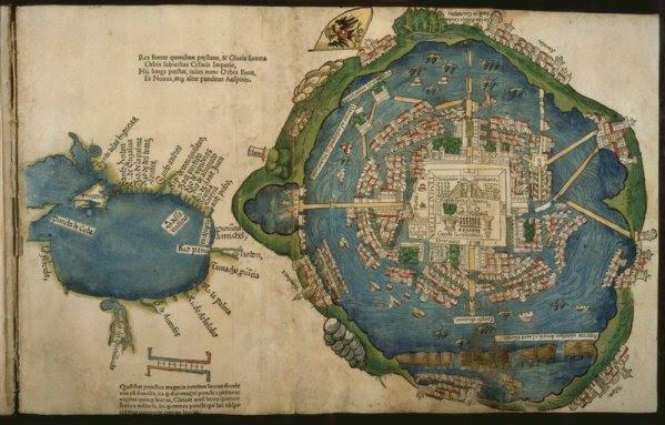 Χάρτης του Hernán Cortés 1524 που απεικονίζει την Tenochtitlan