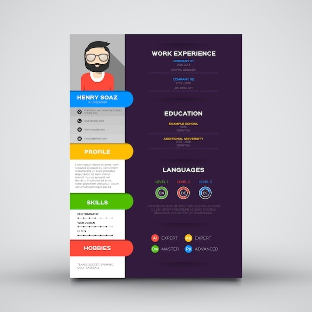 Flat template for resume Free Vector