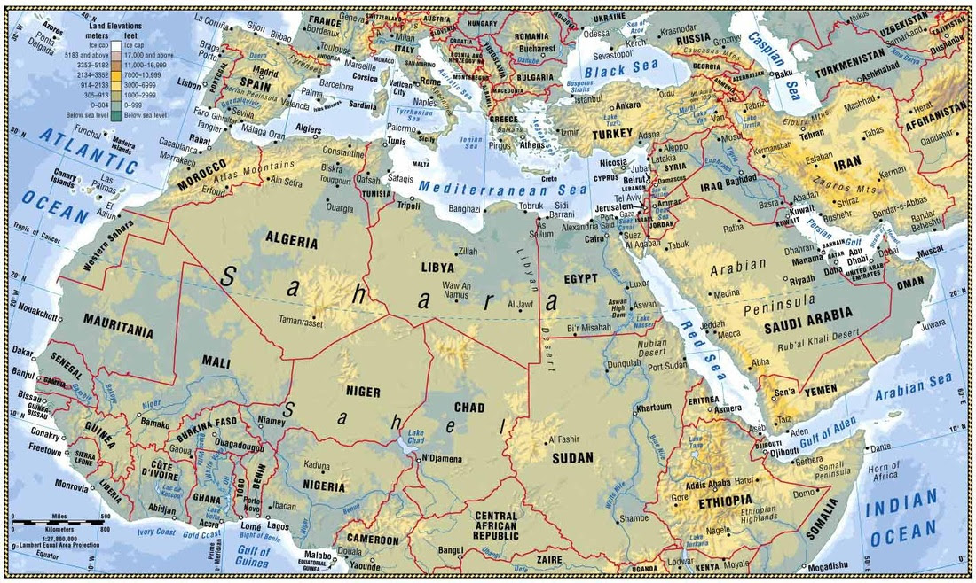 Map Of North Africa And Southwest Asia | Map Of Africa