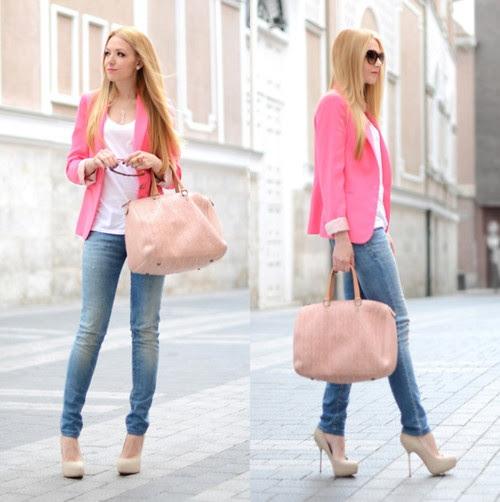 Resultado de imagem para rosa clarinho com jeans