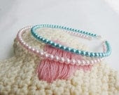 Bridesmaid Pearl Headband- Pink or Cyan Pearl Wedding Hair Piece/ Headband - Ready to Ship Bridal Accessories - MaryMadeAccessories