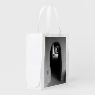 Adobe Passageway: Black & White photo Market Totes