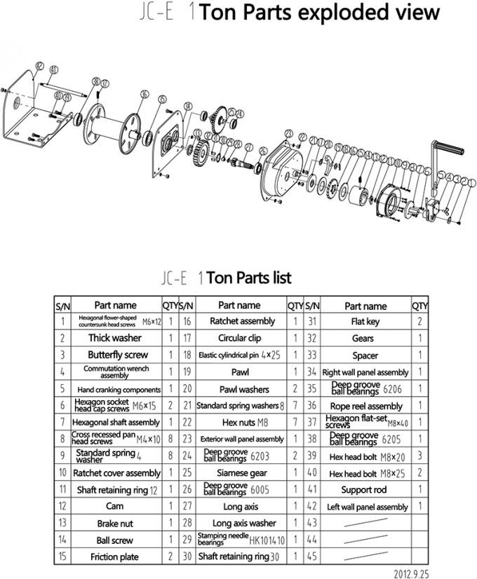 Taşınabilir Mini Manuel El Vinci 1 Ton 8 Mm Tel Halat Turuncu Boyama
