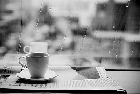 coffee, newspaper, rain