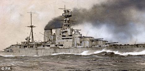 HMS Hood at full speed. She was sunk in 1941