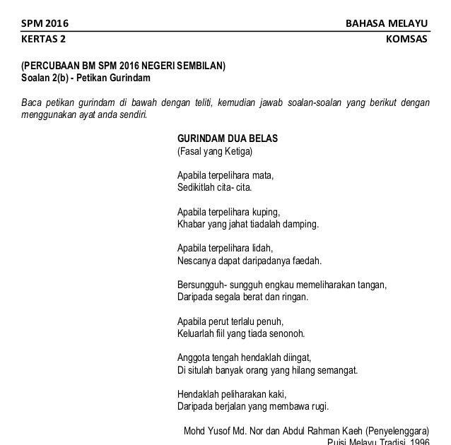 Gurindam Dua Belas Soalan Dan Jawapan Terengganu Z