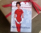 5 Elegant Merry Christmas Gift Tag set - Retro Glamour - have yourself a stylish Christmas Postcard size