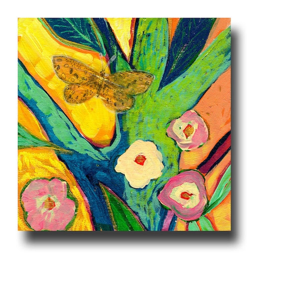 Butterfly - Wish Upon a Rainbow Tree No 8 - Limited Edition 4 x 4 Bamboo Block