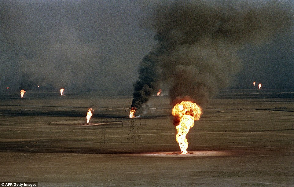 Iraqi troops retreating after a seven-month occupation in 1991 smashed and torched 727 wells