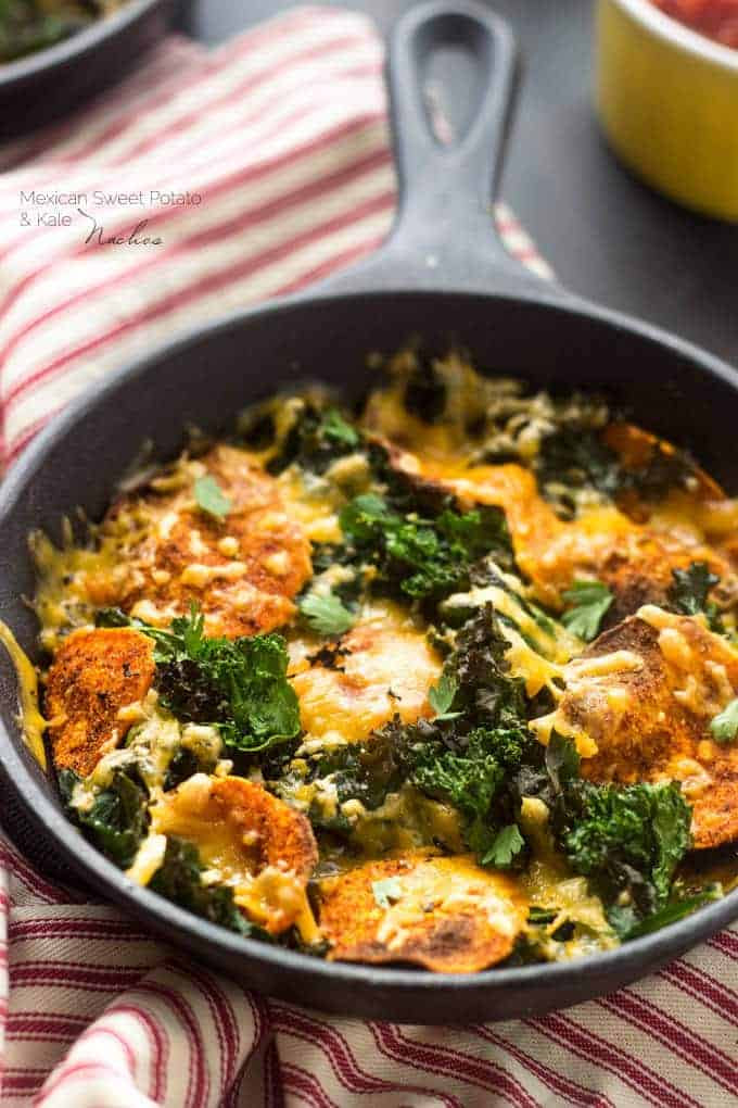 Healthy Nachos with Kale and Sweet Potatoes   Food Faith Fitness