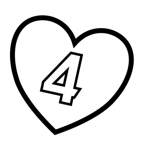 Dibujo De Numero 4 En Un Corazon Para Colorear Dibujos Para