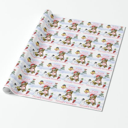 Name Christmas Fun with Teddy and Snowscene Wrapping Paper