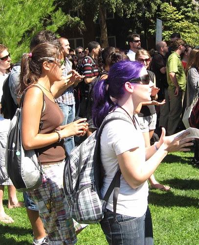 Natural purple hair at Davis Calif protest