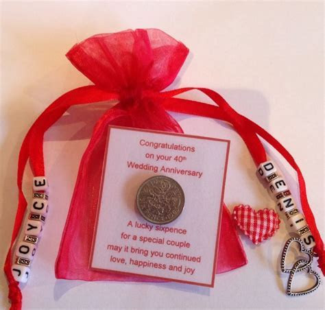 Personalised Ruby wedding 40th Anniversary Sixpence Gift